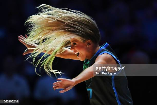 The Dallas Mavericks Dancers perform as the Dallas Mavericks take on the Golden State Warriors at American Airlines Center on November 17 2018 in...