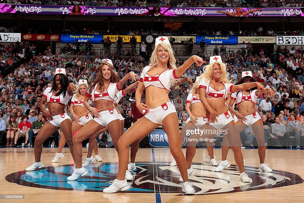 The Dallas Mavericks Dancers perform dressed as nurses during the game against the Orlando Magic on April 1, 2010 at American Airlines Center in Dallas, Texas. The Magic won 97-82.