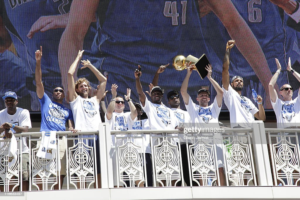 The Dallas Mavericks greet their fans during the Mavericks NBA Champion Victory Parade on June 16, 2011 at the American Airlines Center in Dallas, Texas.