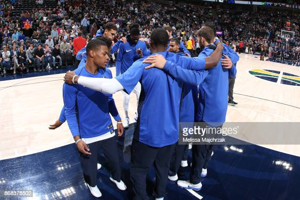 The Dallas Mavericks huddle before the game against the Utah Jazz on October 30 2017 at Vivint Smart Home Arena in Salt Lake City Utah NOTE TO USER...