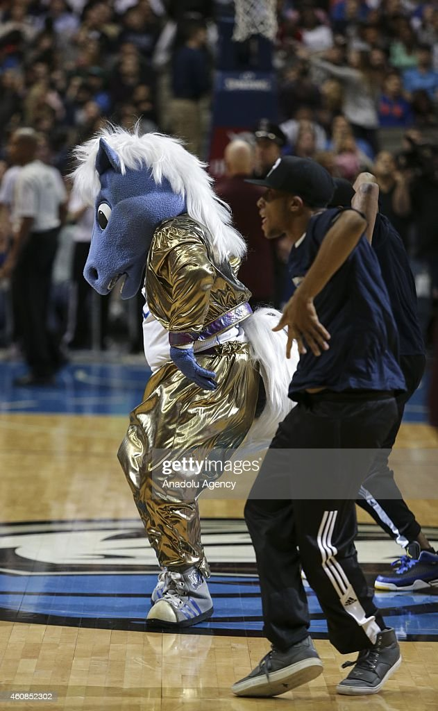 The Dallas Mavericks mascot performs during a basketball match against Los Angeles Lakers on December 26, 2014 at the American Airlines Center in Dallas, Texas.