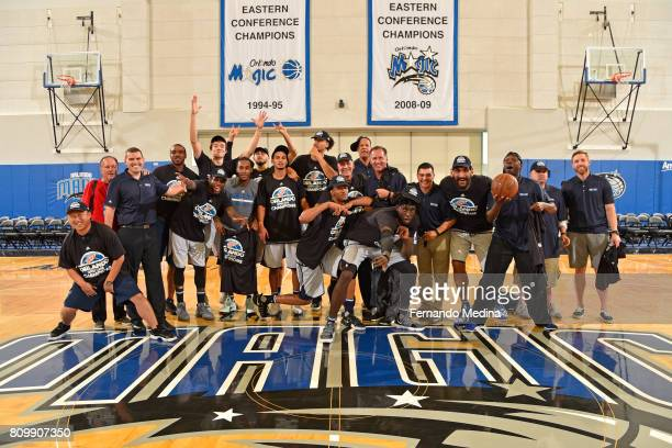 The Dallas Mavericks pose for a team photo after winning the Mountain Dew Orlando Pro Summer League Championship Game on July 6 2017 at Amway Center...