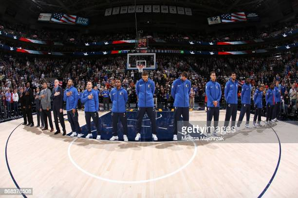 The Dallas Mavericks stand for the National Anthem before the game against the Utah Jazz on October 30 2017 at Vivint Smart Home Arena in Salt Lake...