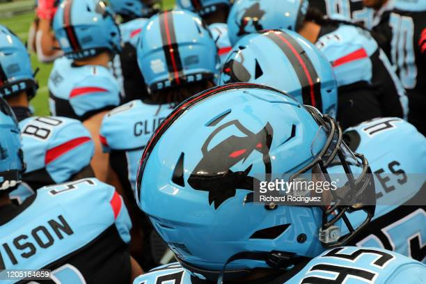 The Dallas Renegades huddle during warmups before the XFL football game against the St. Louis Battlehawks on February 09, 2020 in Arlington, Texas.