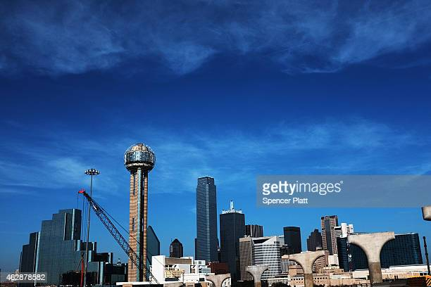 The Dallas skyline is viewed on February 6, 2015 in Dallas, Texas. As crude oil prices have fallen nearly 60 percent globally, many American...