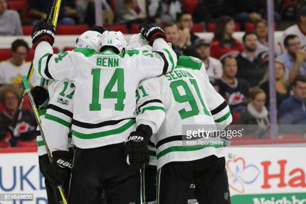 The Dallas Stars celebrate a goal during the 2nd period of the Carolina Hurricanes versus the Dallas Stars on November 13 at PNC Arena in Raleigh NC