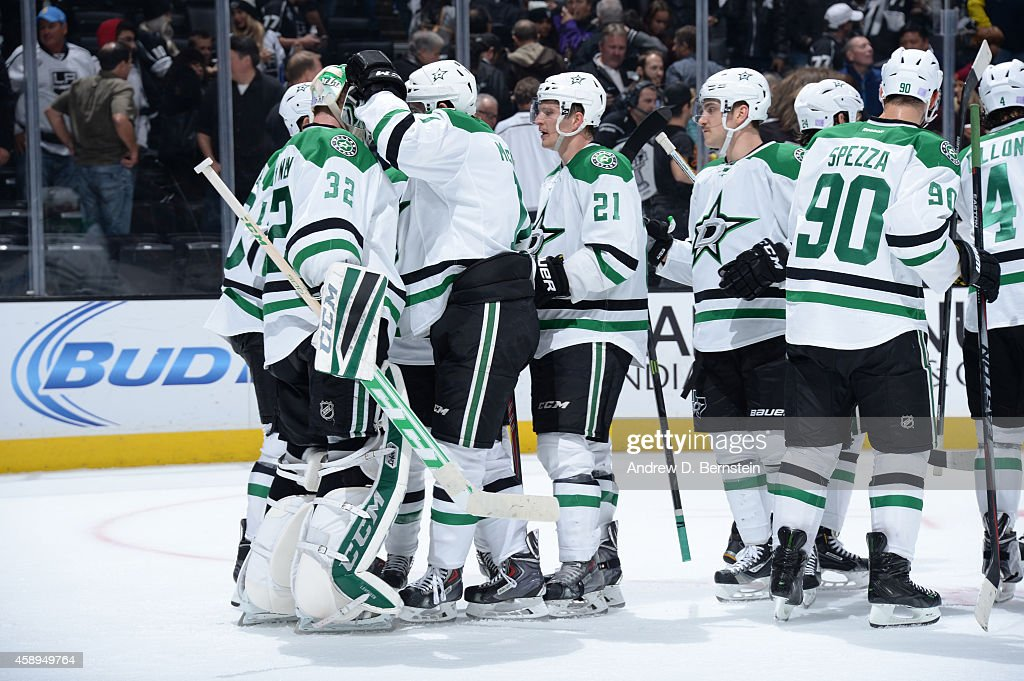 The Dallas Stars celebrate after a game against the Los Angeles Kings at STAPLES Center on November 13, 2014 in Los Angeles, California.