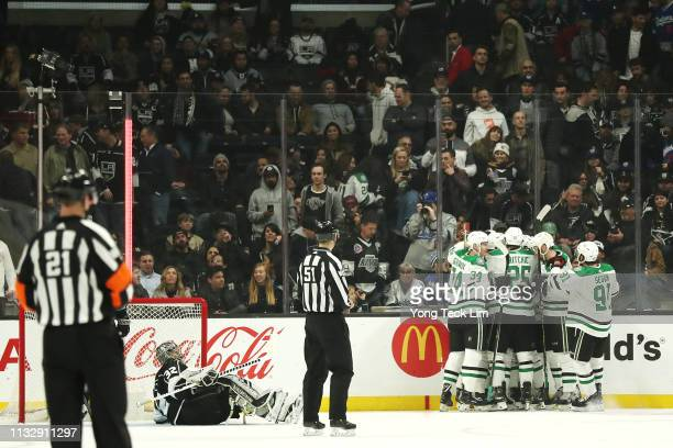 The Dallas Stars celebrate after the gamewinning goal against the Los Angeles Kings in overtime by Roope Hintz at Staples Center on February 28 2019...