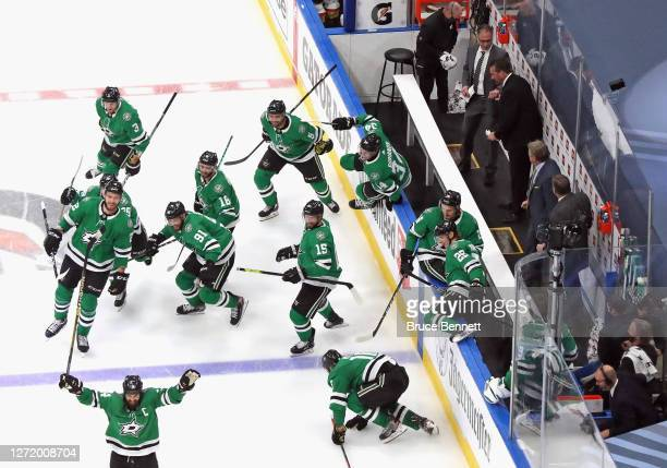 The Dallas Stars celebrate their 3-2 overtime victory against the Vegas Golden Knights in Game Three of the Western Conference Final during the 2020...