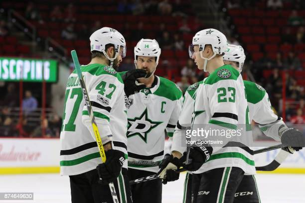 The Dallas Stars during the 2nd period of the Carolina Hurricanes versus the Dallas Stars on November 13 at PNC Arena in Raleigh NC