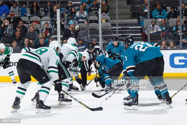 The Dallas Stars face off against the San Jose Sharks at SAP Center on February 18 2018 in San Jose California