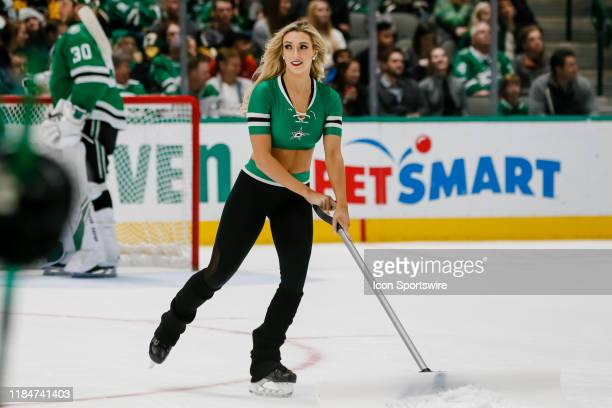 The Dallas Stars Ice Girls clear the ice during the game between the Dallas Stars and the Vegas Golden Knights on November 25 2019 at American...