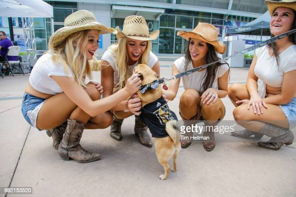 The Dallas Stars Ice Girls entertain the fans as part of the 2018 NHL Draft Hockey Fan Fest presented by Dennys at the American Airlines Center on...