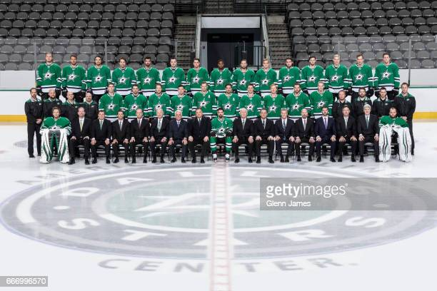 The Dallas Stars pose for their annual team photo at the American Airlines Center on April 10 2017 in Dallas Texas