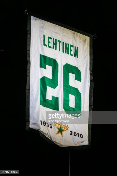 The Dallas Stars raise a banner in honor of retiring Jere Lehtinen jersey and number before the game between the Dallas Stars and the Calgary Flames...