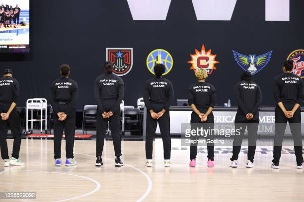 The Dallas Wings and the New York Liberty prior to a game on September 13, 2020 at Feld Entertainment Center in Palmetto, Florida. NOTE TO USER: User...