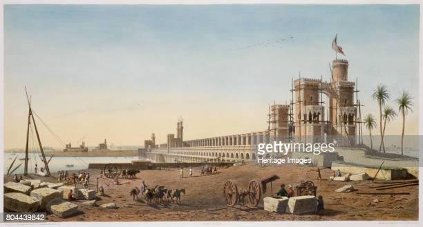 The dam across the Nile the building of the Aswan Dam Egypt 1853 Artist Philippe Benoist