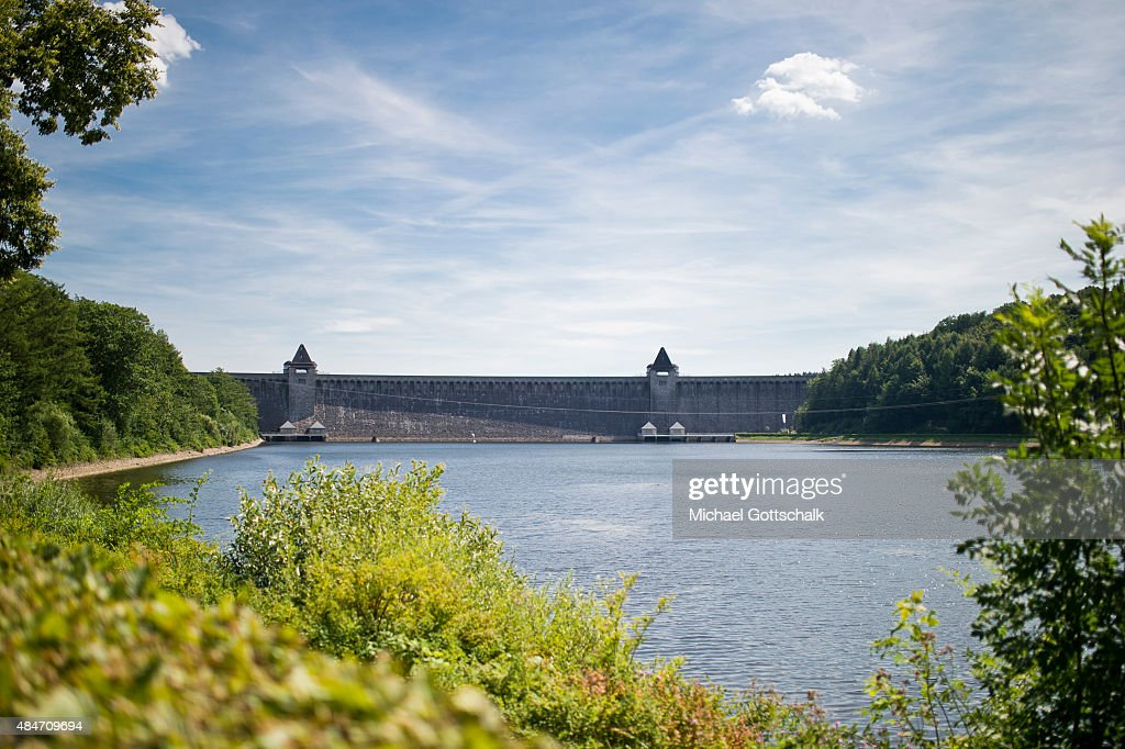 The dam of Moehne River of Moehnesee near Guenne on August