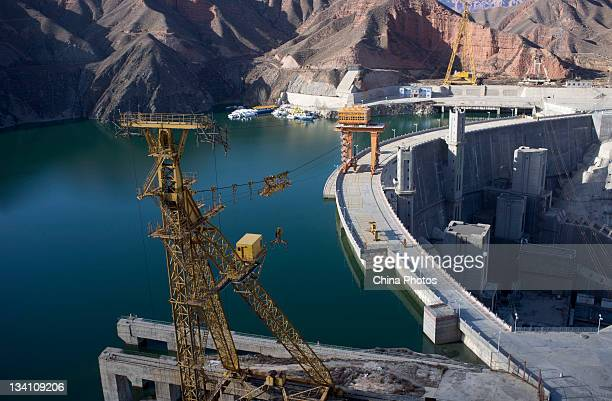 The dam of the Lijiaxia Hydropower Station at the Kanbula Township on November 23 2011 in Jianzha County of Qinghai Province China Lijiaxia...