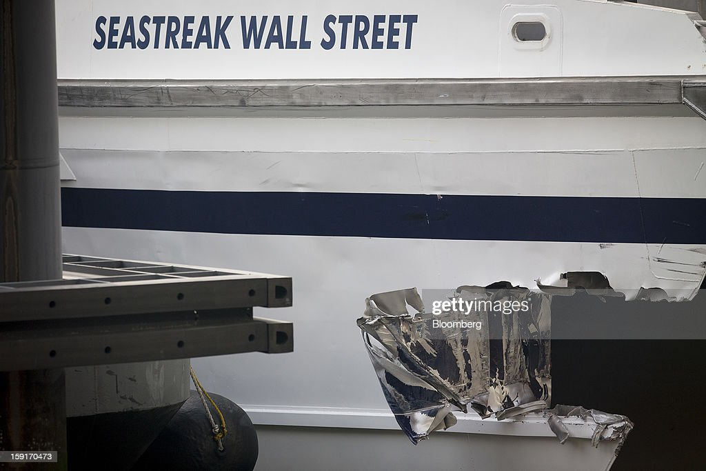 The damage on a Seastreak Wall Street commuter ferry is seen in New York, U.S., on Wednesday, Jan. 9, 2013. A Seastreak Wall Street commuter ferry crashed into a pier near Lower Manhattan's financial district during the morning rush hour, injuring dozens, including two critically, police said. Photographer: Scott Eells/Bloomberg via Getty Images