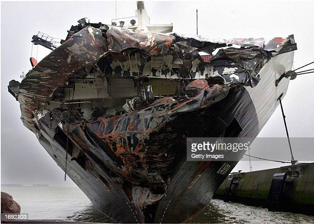 The damaged bow of the Bahamasregistered Kariba container ship is shown moored December 15 2002 at the Belgian port of Antwerp The...