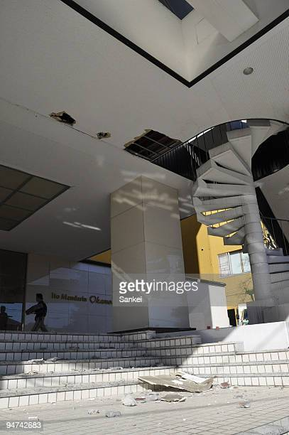 The damaged ceiling of the entrance hall to the Ito Mandarin Okamoto Hotel is seen on December 18 2009 in Ito Shizuoka Japan A 53magnitude quake...
