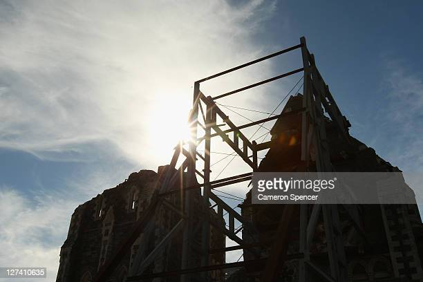 The damaged Christchurch Cathedral in Cathedral Square on September 28 2011 in Christchurch New Zealand On February 22 this year a 63 magnitude...