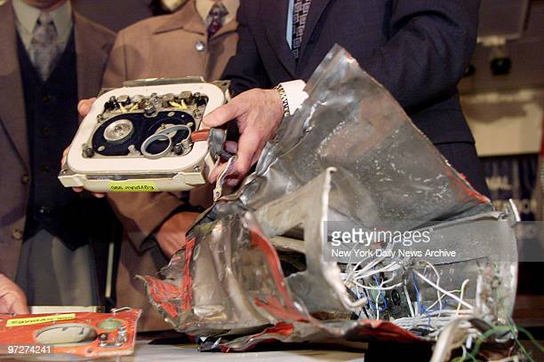 The damaged flight data recorder the socalled black box from the illfated EgyptAir Flight 990 is shown to the media at the National Transportation...