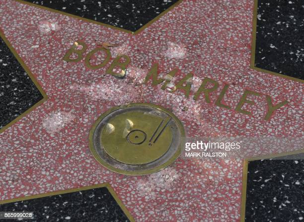 The damaged Hollywood Walk of Fame star of reggae musician Bob Marley is seen after it was vandalized with a hammer in Hollywood California on...
