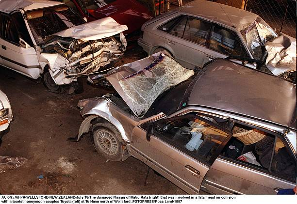 the damaged nissan of matiu rata right that was pictures getty