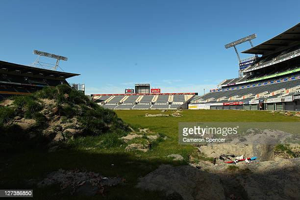 The damaged playing surface of AMI Stadium due to liquefaction on September 28 2011 in Christchurch New Zealand On February 22 this year a 63...