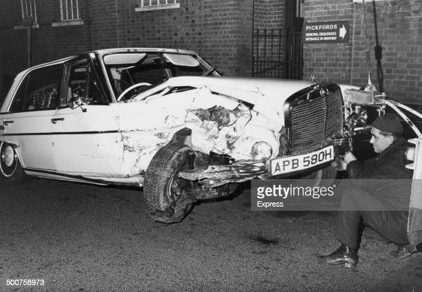The damaged remains of the Mercedes driven by musician George Harrison following his crash on the M4 England February 29th 1972