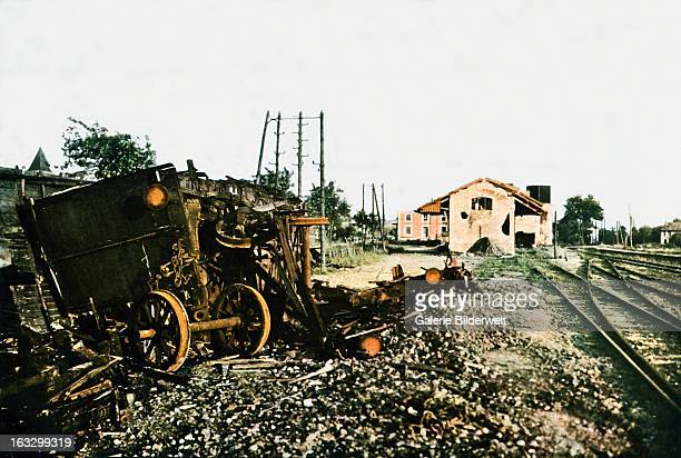 The damaged train station of DombasleenArgonne west of Verdun September 1916 Battle of Verdun Western Front World War I France Autochrome Lumière...