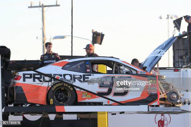 The damages car of Kasey Kahne Leaving Family Racing Procore Chevrolet Camaro is loaded on to the team hauler after wrecking in the 60th running of...