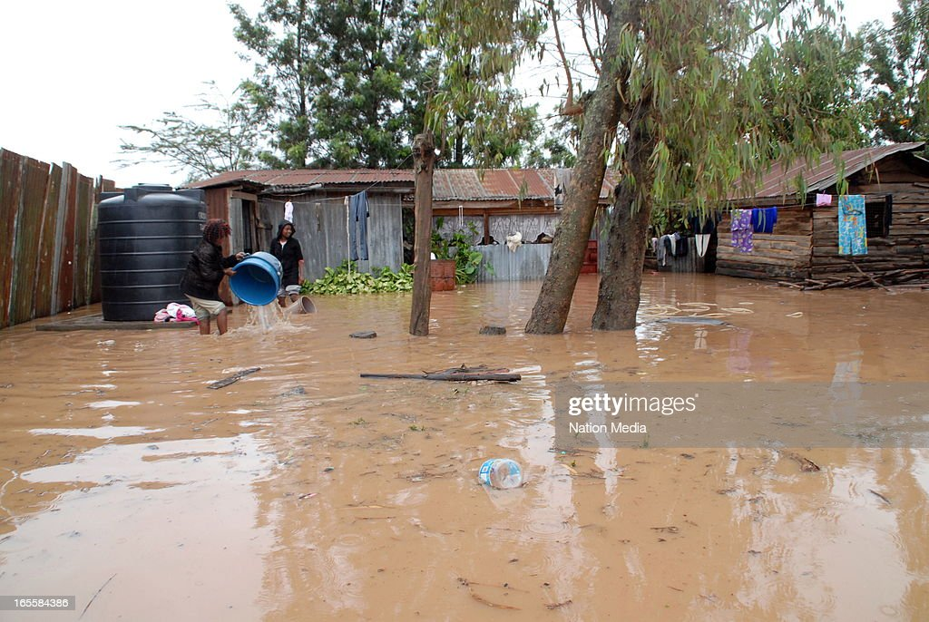 The damages caused by the floods on April 1, 2013 in Nairobi, Kenya. Thousands of people have been displaced by the heavy rains with houses destroyed and livestock lost. At least 10 people have reportedly been killed by the floods.
