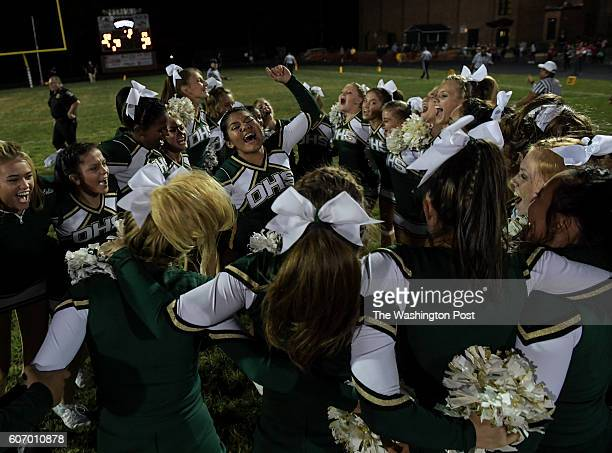 The Damascus Hornets cheerleaders celebrate after the game between the Watkins Mills Wolverines and the Damascus Hornets at Damascus High School on...