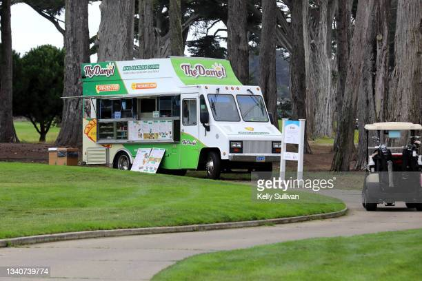 The Damel food truck is seen at The Workday Charity Classic, hosted by Stephen and Ayesha Curry's Eat. Learn. Play. And Workday, at Franklin...