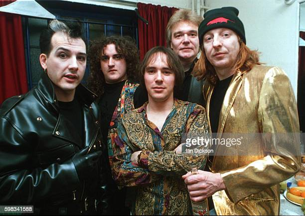 The Damned group portrait, backstage at The Forum, Kentish Town, London 03 December 1993. Dave Vanian left and Rat Scabies right.