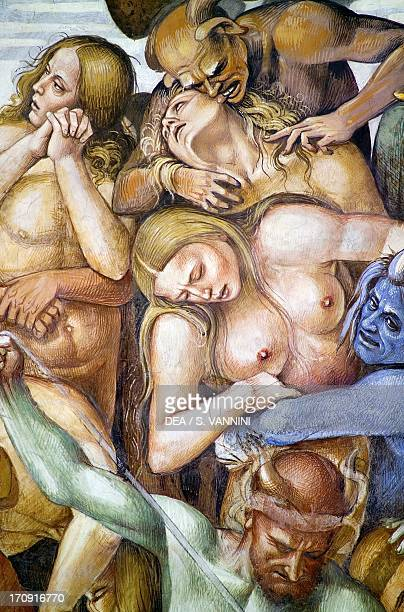 The damned in hell detail with the selfportrait by Luca Signorelli in the guise of a blue demon from the Last Judgment fresco cycle 14991504 by Luca...