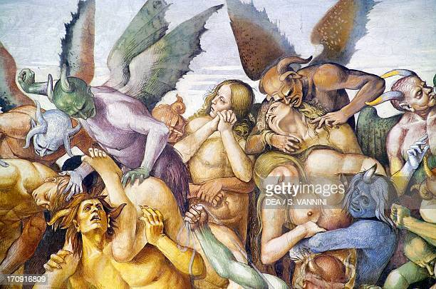 The damned in hell detail with the selfportrait of Luca Signorelli in the guise of a blue demon from the Last Judgment fresco cycle 14991504 by Luca...
