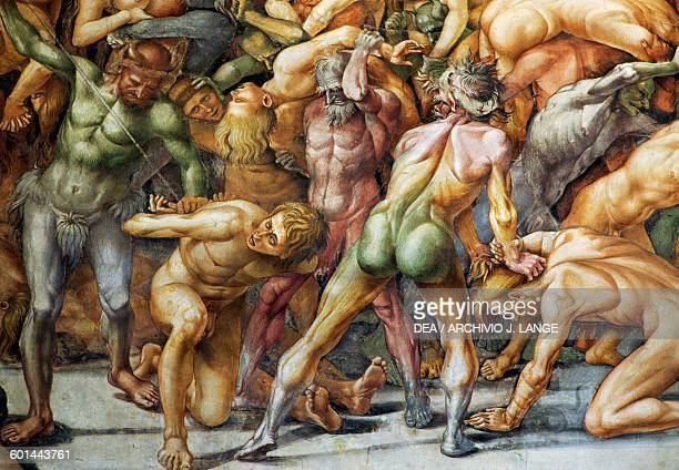 The damned in Hell fresco from 14991502 by Luca Signorelli St Britius chapel Orvieto cathedral Umbria Italy 13th19th century