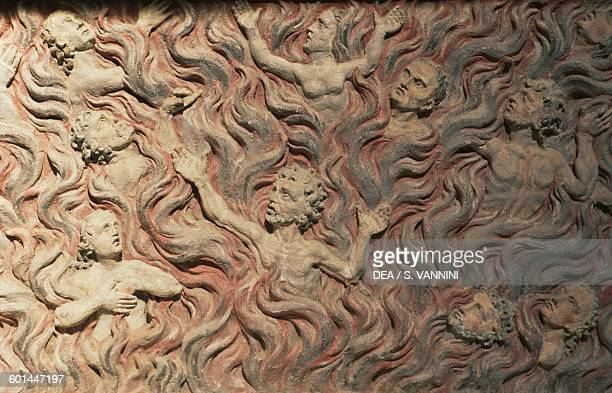 The damned in hell relief on the altar in St Michael's cathedral Alba Iulia Transylvania Romania 13th century