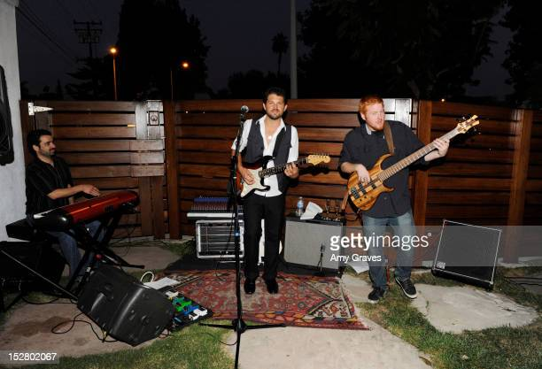 The Damon Vonn Band performs at the Robbie Conal Knuckleheads Art and Kathy Rose Jewelry Show at Roseark on September 25 2012 in West Hollywood...