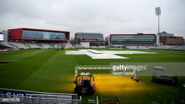The damp scene as play is delayed on the first day of the County Championship Division One match between Lancashire and Nottinghamshire at Old...
