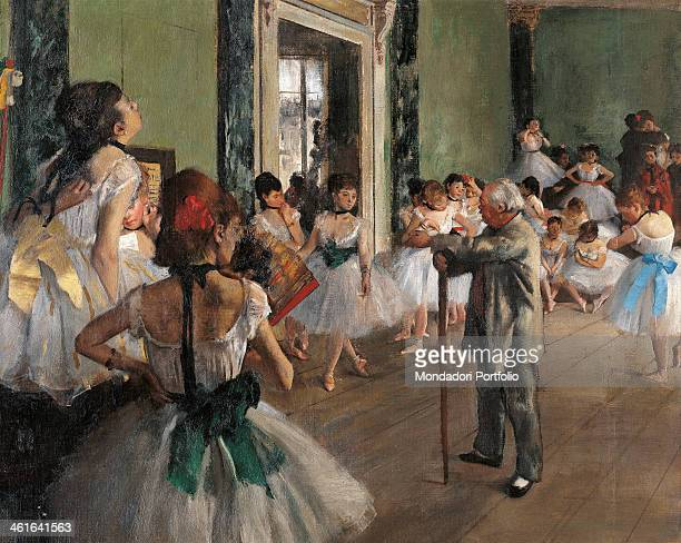 The dance class by Edgar Degas 19th Century oil on canvas France Paris Musée d'Orsay Detail A group of dancers and a old teacher with a stick