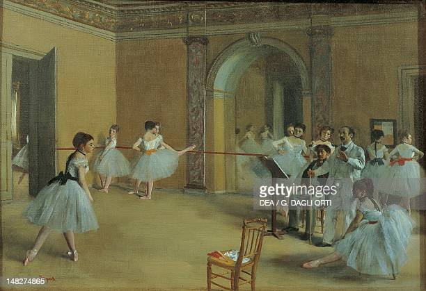 The dance foyer at the opera on the Rue Le Peletier by Edgar Degas Paris Musée D'Orsay