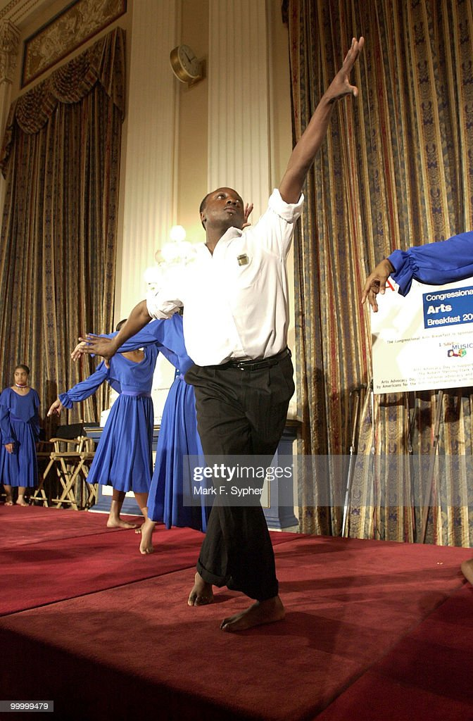 The dance group, 'The Artists Collective' performed a routine barefoot in the Cannon Caucus Room on Tuesday morning before a host of celebrities and lawmakers.