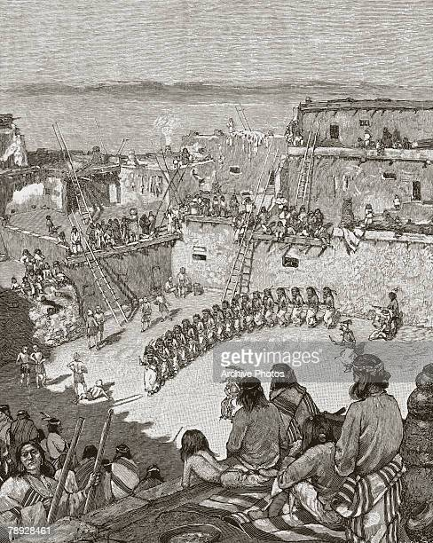 The Dance of the Great Knife a ritual of the people of Zuni Pueblo New Mexico circa 1880 Original Publication 'My Adventures in Zuni' by Frank Cushing