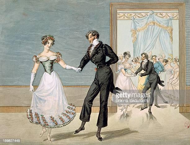 The dance of the polka Engraving France 19th century Paris Hôtel Carnavalet