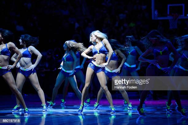 The dance team for the Minnesota Timberwolves performs during the game between the Minnesota Timberwolves and the Miami Heat on November 24 2017 at...
